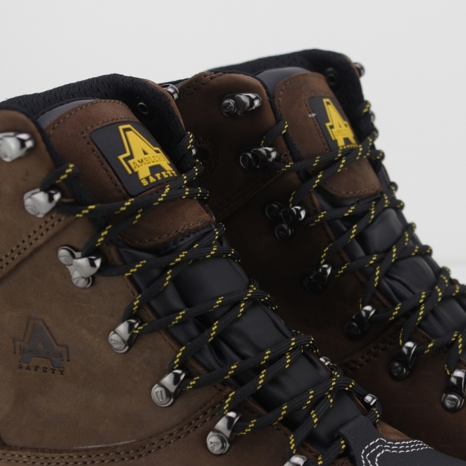 FS227 Mens Leather Safety Boots Brown