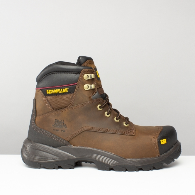 77a57ea6444 Cat ® SPIRO Mens Leather Safety Boots Brown