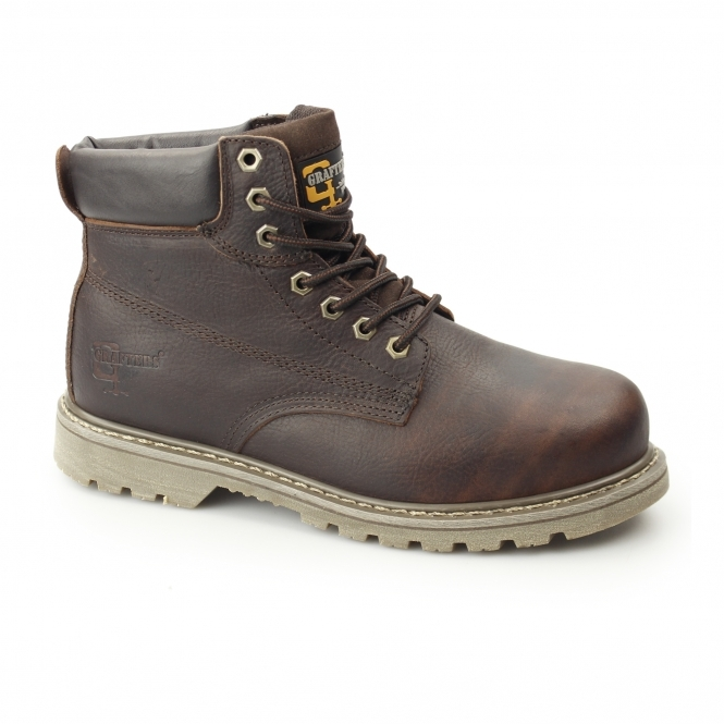 01a14683fe22f1 Grafters Mens SB SRA Leather Welted Safety Boots Brown   SteelToeBoots