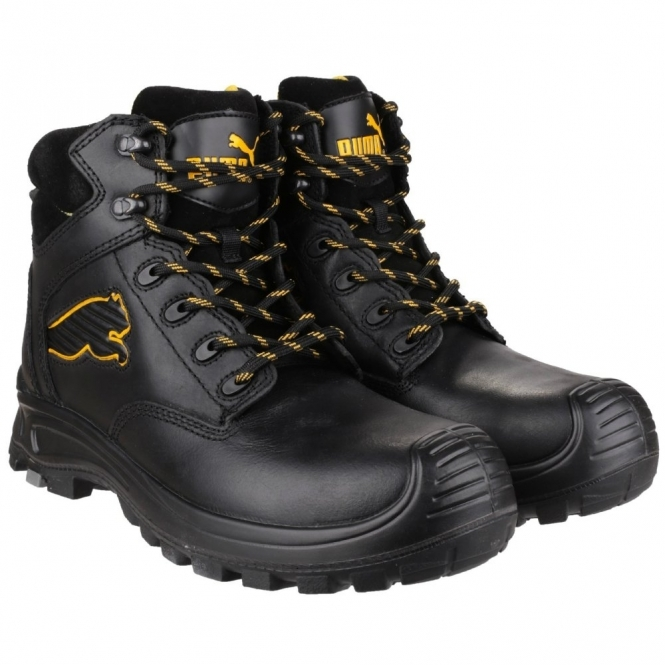 6ed42527b38 Puma Safety BORNEO MID 6304110 S3 Mens Safety Leather Boots Black
