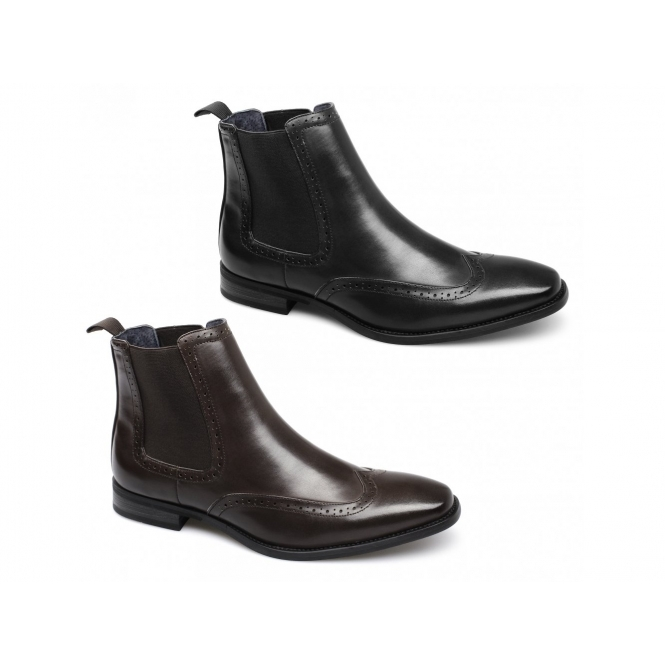 bf163582c86 Route 21 NICHOLAS Mens Faux Leather Brogue Chelsea Boots Brown