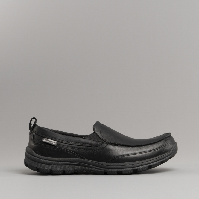 skechers relaxed fit leather slip on